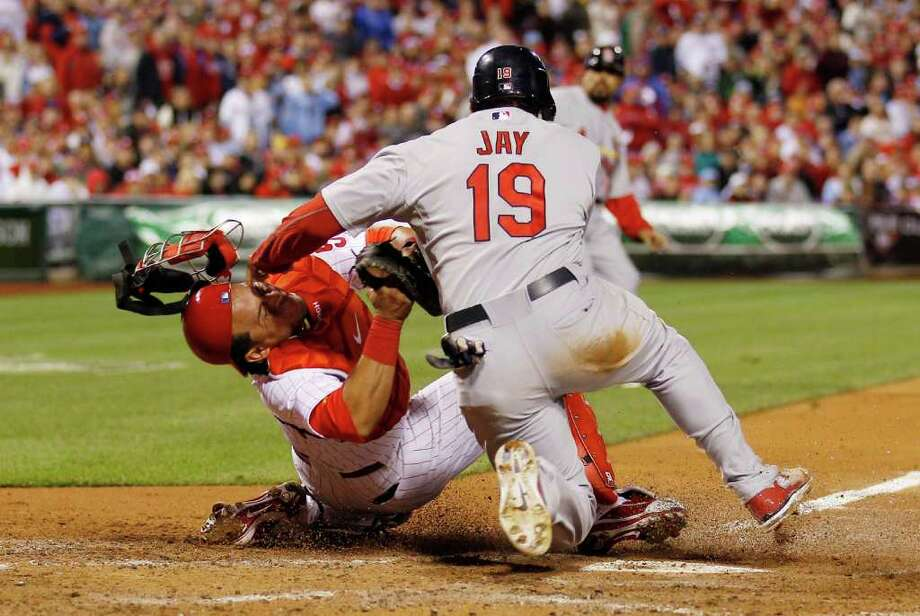 St. Louis Cardinals Jon Jay is tagged out by Philadelphia Phillies catcher Carlos Ruiz to end the 4th inning in Game 2 of the National League Divisional Series at the Citizens Bank Park in Philadelphia, Pennsylvania, Sunday, October 2, 2011. (Yong Kim/Philadelphia Daily News/MCT) Photo: Yong Kim / Philadelphia Daily News