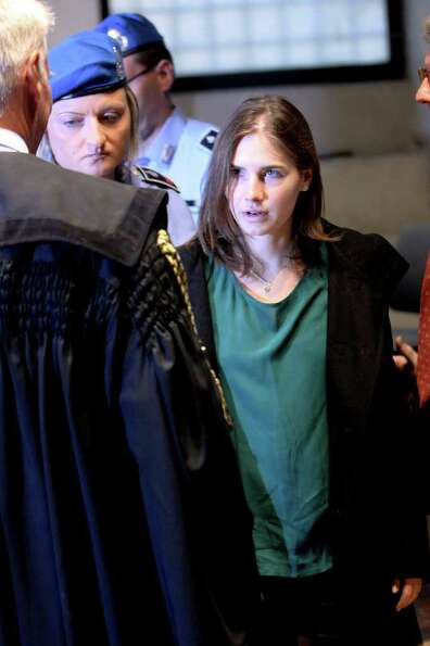 Amanda Knox arrives at Perugia's Court of Appeal the day of the verdict in her and Raffaele Solle