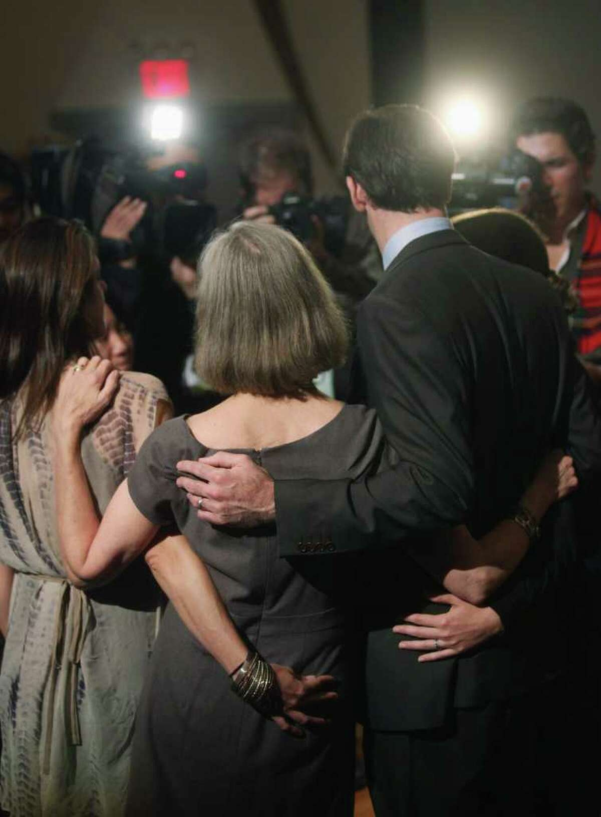 The family of deceased 2011 Nobel Prize in medicine winner Ralph Steinman embrace at a news conference at Rockefeller University on October 3, 2011 in New York City. Steinman, who passed away on September 30, was awarded for his discovery of the immune system's dendritic cells in the 1970s at Rockefeller University. Nobel Prizes are not awarded posthumously and the Nobel Committee was unaware of Steinman's death. (Photo by Mario Tama/Getty Images)