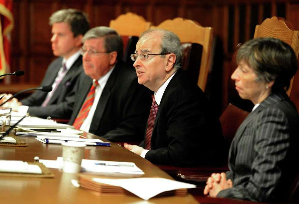 New York State Court of Appeals Chief Judge Jonathan Lippman, second from right conducts a hearing on Civil and Legal Services at the Court of Appeals chamber in Albany, N.Y. October 3, 2011. (Skip Dickstein / Times Union)