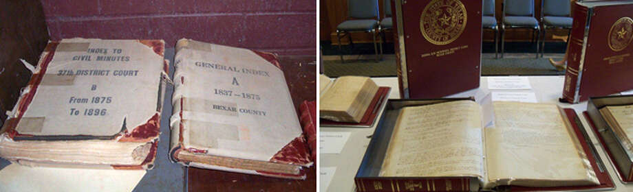 Minute Book B (left in left photo) is a highly prized Bexar County document detailing court proceedings from 1840 to 1852. Once without its binding and held together by duct tape, it has been refurbished and is being displayed in Austin. Photo: Courtesy Photos