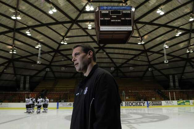 Union College hockey team head coach Rick Bennett talks to fellow coaches during the team's media day on Monday  Oct. 3, 2011 in Schenectady, NY. ( Philip Kamrass / Times Union) Photo: Philip Kamrass / 00014828A