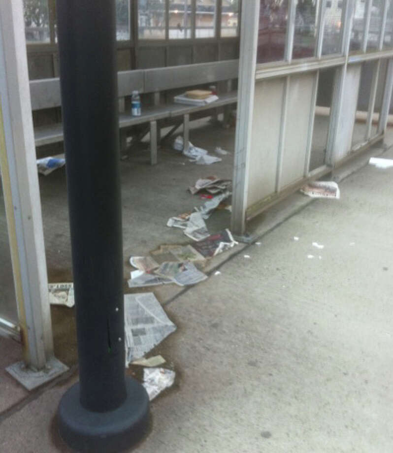 Litter is strewn around the passenger shelter on the eastbound platform of the Fairfield Railroad Station on Monday night. Photo: John Schwing / Fairfield Citizen