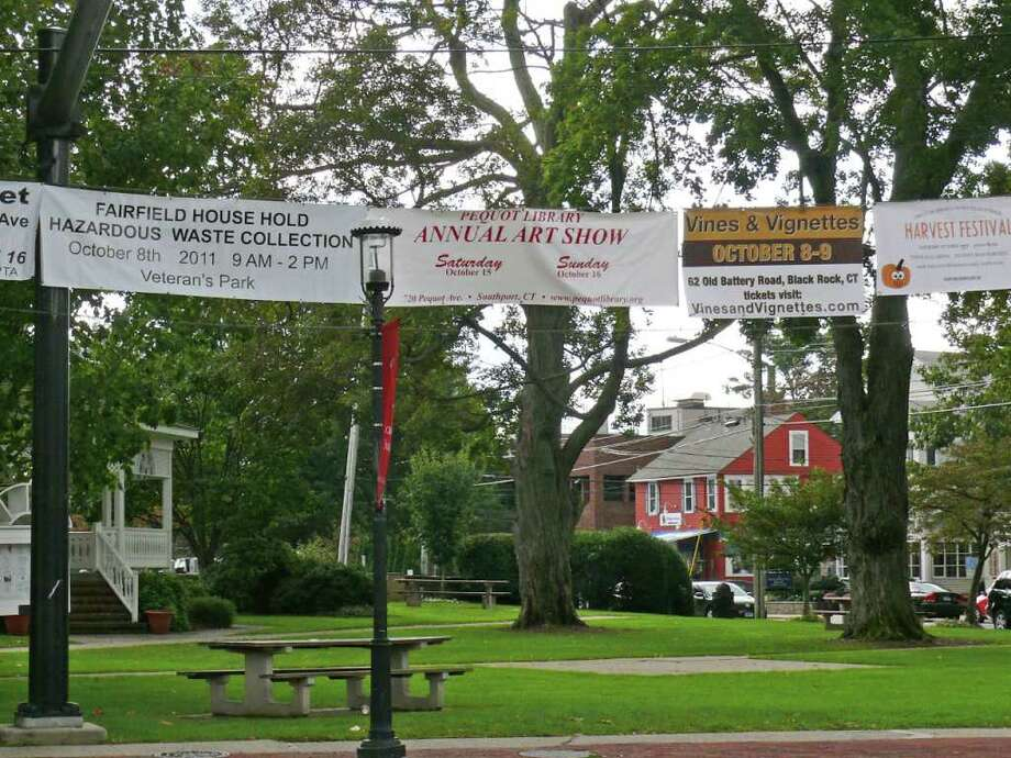 The Board of Selectmen will discuss updating the town's policy for banners at the Sherman Green when they meet Wednesday at 4:30 p.m. in Sullivan Independence Hall. Photo: Genevieve Reilly / Fairfield Citizen