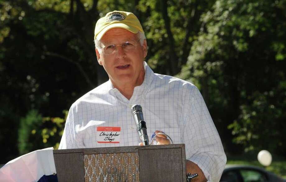 Former U.S. Rep. Christopher Shays speaks at the Cos Cob Republican Club and Republican Town Committee's 80th annual clambake Sunday, Sept. 18, 2011, in Cos Cob. Photo: Helen Neafsey, File Photo / Greenwich Time