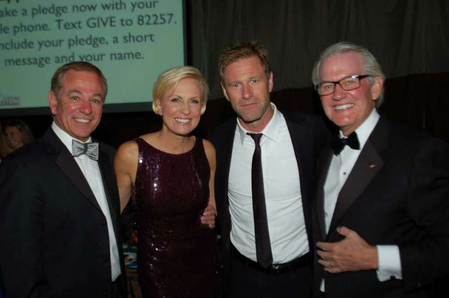 From left, Bobby Valentine, Mika Brzezinski, Aaron Eckhart and Curt Welling. Photo: Contributed Photo / New Canaan News
