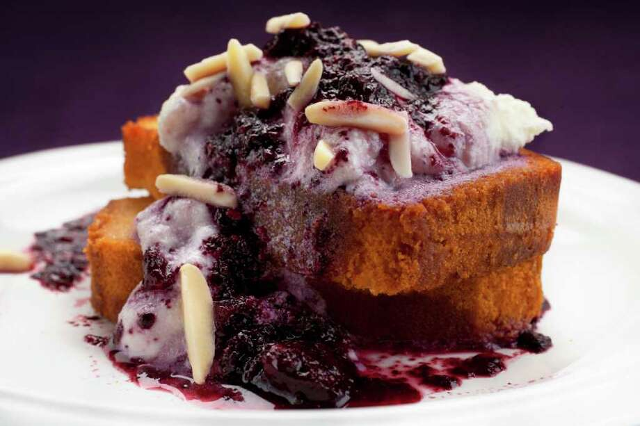 Cody Duty : STAFF DRESSED UP: The recipe for Grilled Pound Cake With Warm Blueberry Sauce and Ricotta Cream transforms plain pound cake into a stunning dessert. Photo: Cody Duty / © 2011 Houston Chronicle