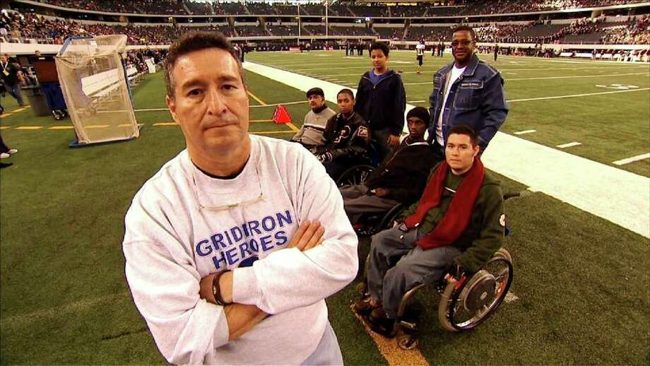 "Eddie (foreground) and Chris Canales (behind him, front right) founded Gridiron Heroes. When ""Friday Night Lights"" writers were working on the pilot, they consulted Chris. CNN Photo: CNN"