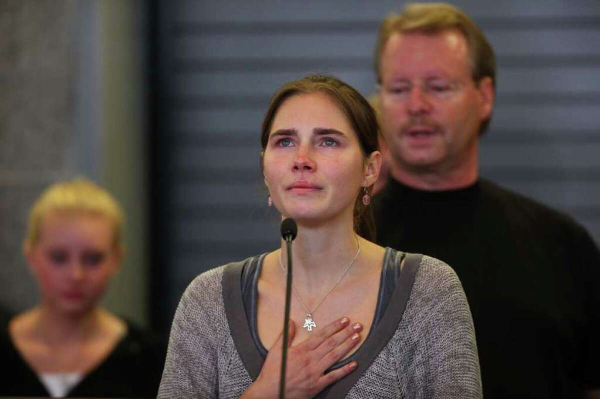 as Amanda Knox returns to the United States after her Italian murder conviction was overturned. Knox returned to Seattle on Tuesday, October 4, 2011 to a throng of cameras and well-wishers.