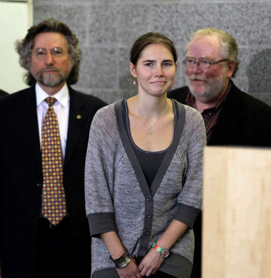 2011: Amanda Knox, an American acquitted in the death of her British roommate, Meredith Kercher, in Italy.  Photo: Ted S. Warren / AP