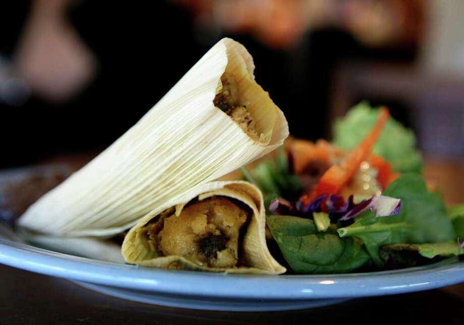 CONEXION:  Tamales from Vegeria, all vegan restaurant, photographed Tuesday Oct. 4, 2011.  HELEN L. MONTOYA/hmontoya@conexionsa.com Photo: HELEN L. MONTOYA, San Antonio Express-News / SAN ANTONIO EXPRESS-NEWS