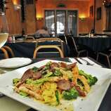 """Fettuccine Liotta at Scotti's Restaurant on Union Street in Schenectady Thursday Sept. 29, 2011.  The dish was created for Ray Liotta, who was coming into the restaurant a lot while shooting """"A Place Beyond the Pines""""    (John Carl D'Annibale / Times Union)"""