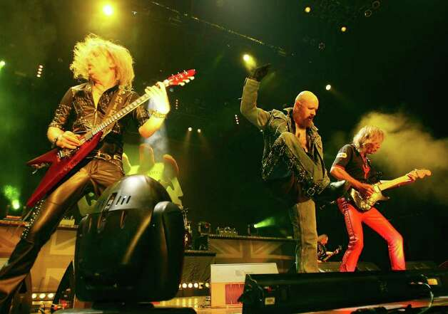 K.K. Downing (from left), Rob Halford and Glenn Tipton hit S.A. in '09. Richie Faulkner now subs for Downing. EXPRESS-NEWS FILE PHOTO Photo: EDWARD A. ORNELAS, SAN ANTONIO EXPRESS-NEWS / eaornelas@express-news.net