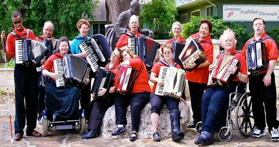 The Alamo Angels Accordion Orchestra consists of musicians with special needs. Back Row:   Darien Williams, Felipe Gonzales (mentor), Mary Kathryn Archuleta (Artistic Director/ co-founder),  Richard Naujoks (Assistant Director),  Delancey Pestello (mentor), Gracie Bernardi (mentor), Ruby Harris (mentor)   Randy Harris. Front Row: Kathryn Marie Archuelta (co-founder),  Samuel Pestello,  Jennifer Maun,  Kelee Lawn. COURTESY PHOTO Photo: Courtesy Photo