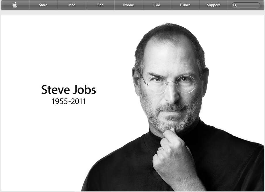 Apple Inc.'s home page displayed this quiet tribute to late founder Steve Jobs after his death was announced Wednesday, Oct. 5, 2011.