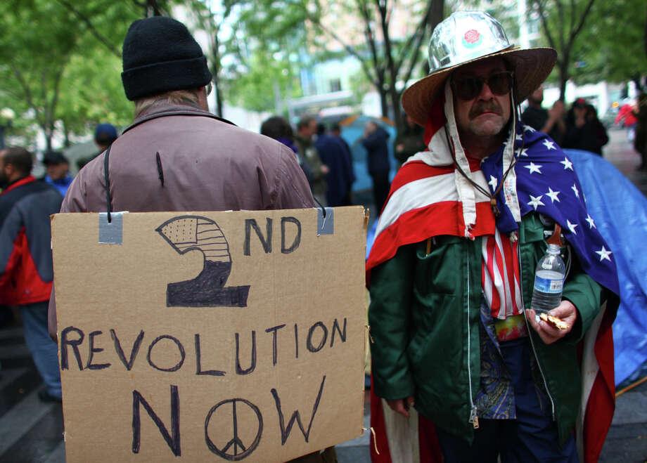 Protesters gather at Westlake Park. Photo: JOSHUA TRUJILLO / SEATTLEPI.COM