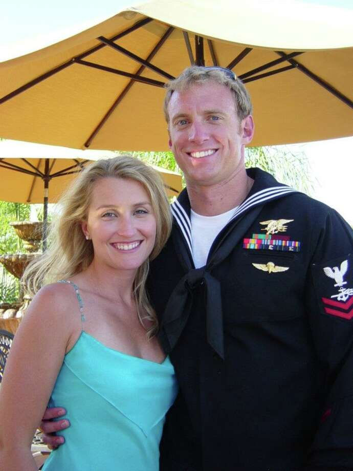 COURTESY OF KIMBERLY VAUGHN HAPPIER TIMES: Kimberly Vaughn with her husband, Aaron, a Navy SEAL who was killed in Afghanistan two months ago. / photo courtesy Kimberly Vaughn