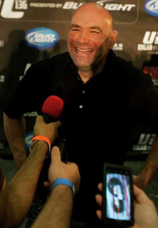 Ultimate Fighting Championship President Dana White answers questions during a press conference. Photo: Cody Duty, Houston Chronicle / © 2011 Houston Chronicle