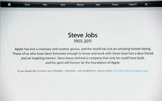 "A statement on the Apple.com website October 5, 2011 announces the passing of Apple's founder and former chief executive Steve Jobs. Apple on Wednesday, October 5, 2011 announced the death of its visionary co-founder Steve Jobs from cancer at 56. ""We are deeply saddened to announce that Steve Jobs passed away today,"" the company's board of directors said in a statement.   AFP PHOTO / ROBYN BECK (Photo credit should read ROBYN BECK/AFP/Getty Images) Photo: ROBYN BECK / AFP"