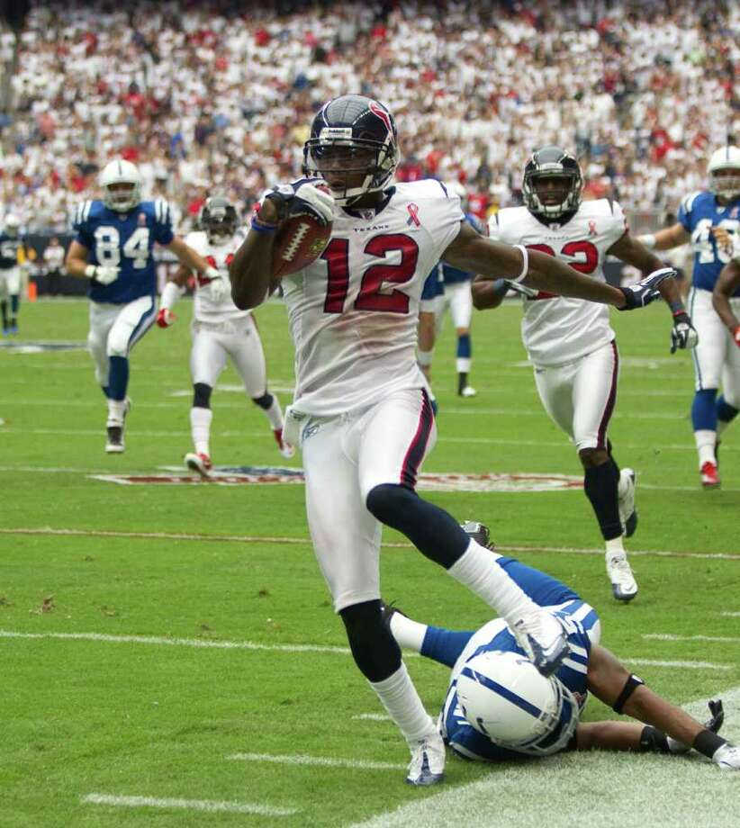 Jacoby Jones was returning punts for the Texans against the Colts, but now he'll be asked to step up as a primary receiver with Andre Johnson out. Photo: Brett Coomer / © 2011 Houston Chronicle