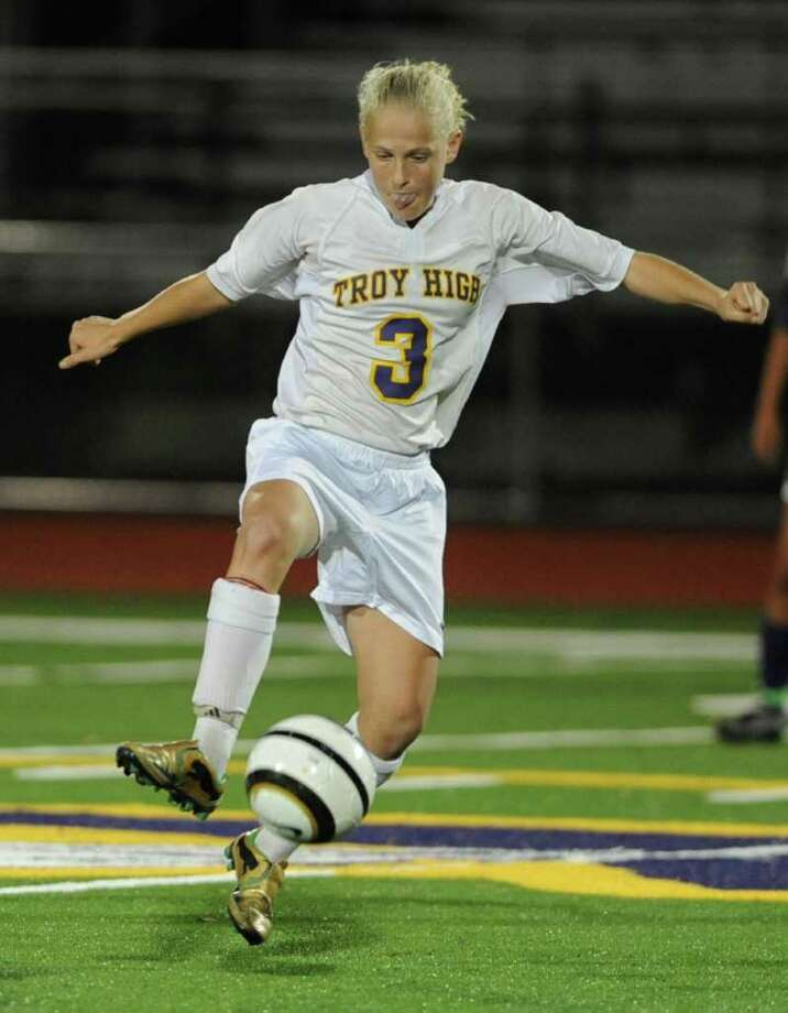 Troy's Liisi Vink-Lainas (cq) handles the ball during a soccer game against Catholic Central in Troy, N.Y. Wednesday, Oct. 5, 2011. (Lori Van Buren / Times Union) Photo: Lori Van Buren