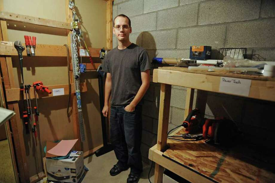 Jason Sanchez stands in the storage area where chemicals were found by police in the apartment building of he lives in Delmar, NY on December 6, 2010.  (Lori Van Buren / Times Union archive) Photo: Lori Van Buren / 00011320A