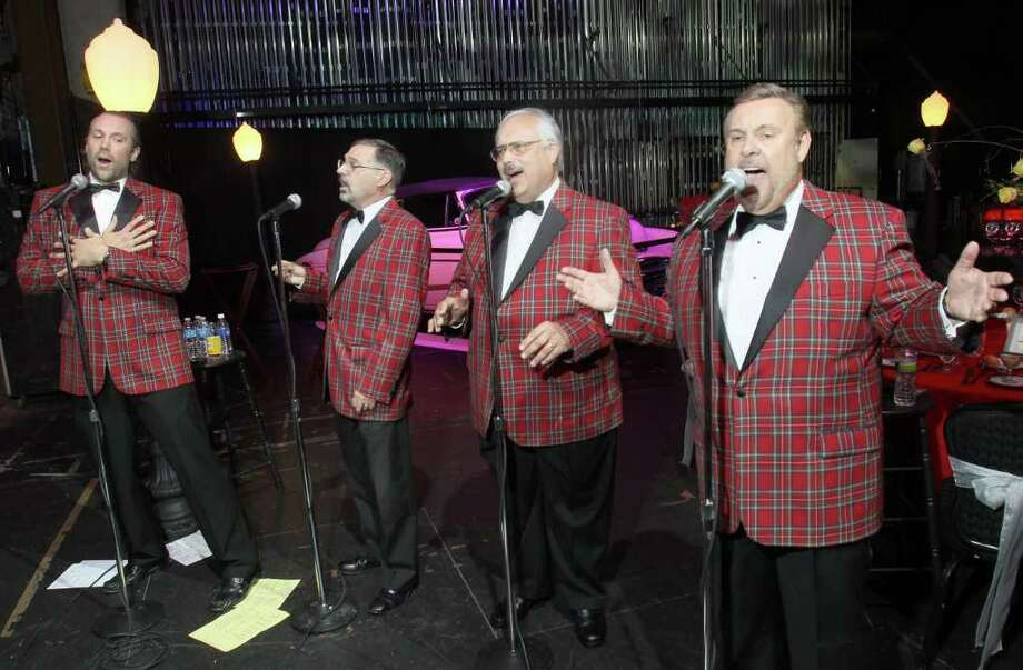 Schenectady, NY - September 24, 2011 - (Photo by Joe Putrock/Special to the Times Union) - (l to r) Tom Torebka, Don Tosti, Pete Aviles and Stan Simkins of The Flipsydes perform on the Apkarian Stage during Oh What A Night, The Proctor's Theatre 2011 Season Opening Gala Celebration. Photo: Joe Putrock / Joe Putrock