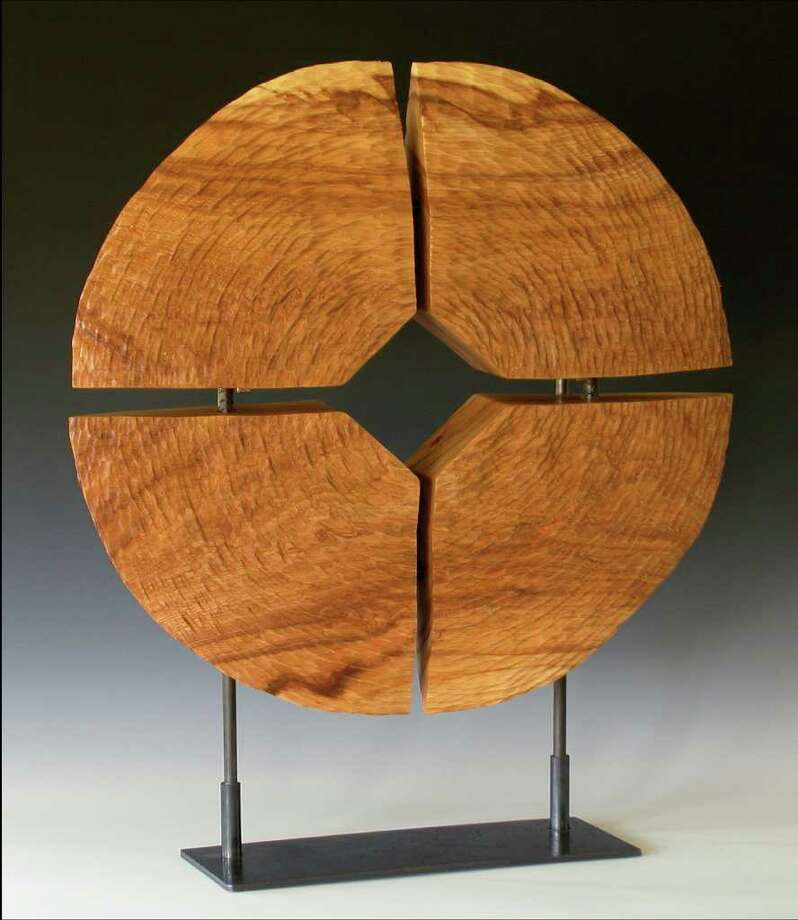 """Elm Elements, 26""""diam x 4""""thick x 37""""h (w/stand), wood sculpture by Jay McDougall who will be at the Oct. 8-9, 2011 Bayou City Art Festival in downtown Houston. Photo: Jay McDougall"""