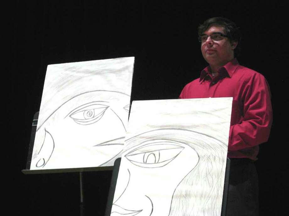 Daniel DeLoma hosts the Black Box Poetic Exhibition -- an evening of poetry, music and visual art -- at the Wien Experimental Theatre at Fairfield University's Quick Center for the Arts. Photo: Contributed Photo