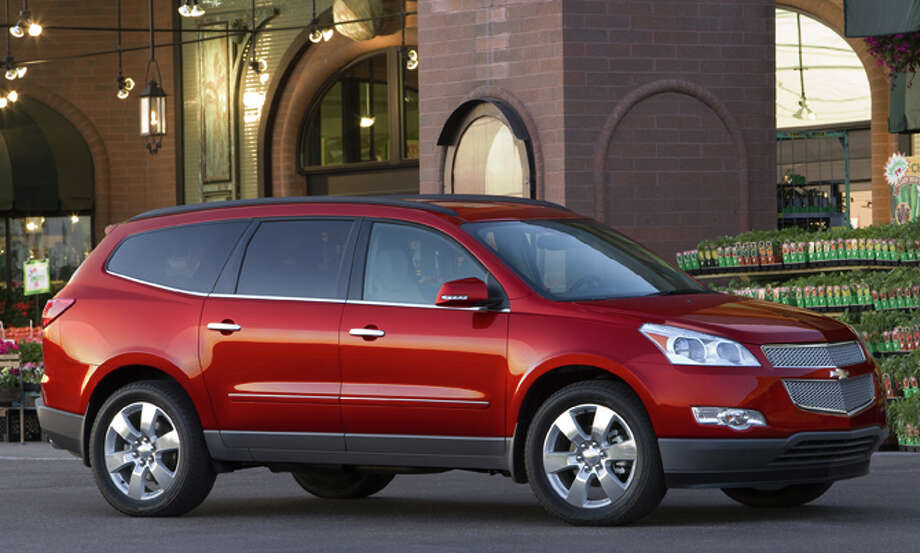 The 2012 Chevrolet Traverse LTZ model begins at $38,805, plus $810 freight. With dual captain's chairs in the middle row, it has seating for up to seven passengers. Photo: COURTESY OF GENERAL MOTORS CO.