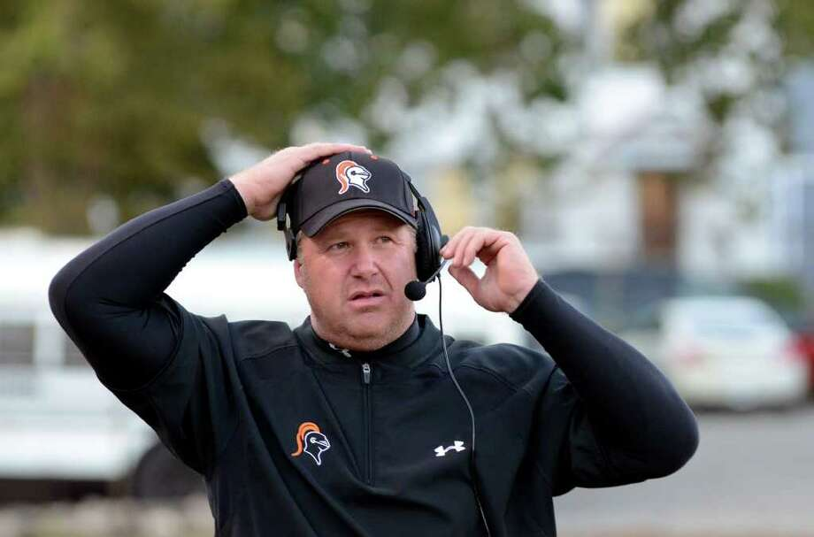 Stamford head football coach Bryan Hocter during the football game against St. Joseph at Boyle Stadium at Stamford High School on Thursday, Oct. 6, 2011. Photo: Amy Mortensen / Connecticut Post Freelance