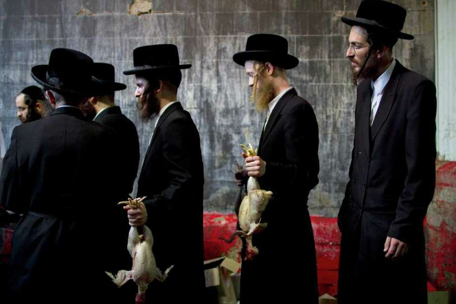 In this picture taken Wednesday, Oct. 5, 2011, ultra-Orthodox Jewish men hold chicken after it was slaughtered as part of the Kaparot ritual in which it is believed that one transfers one's sins from the past year into the chicken in Bnei Brak, an ultra-Orthodox town near Tel Aviv, Israel. For generations, ultra-Orthodox Jews have marked the arrival of Yom Kippur, Judaism's holiest day, by waving live chickens over their heads before slaughtering the birds to atone for their sins. But in a departure from centuries of tradition, a small but growing group of religious leaders are decrying the practice as animal abuse. These rabbis say the practice, along with the cruel conditions they are kept in, violates a biblical injunction against animal abuse. (AP Photo/Oded Balilty) Photo: Oded Balilty / AP