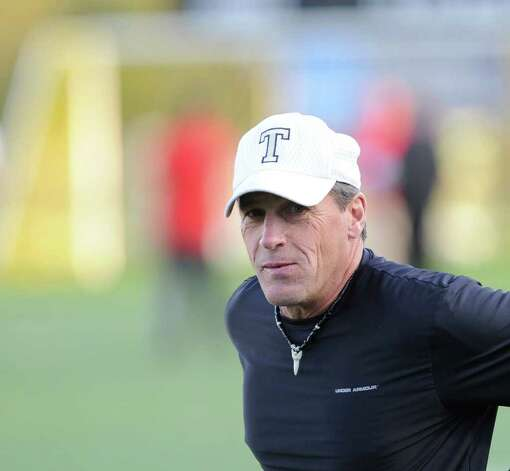 Robert Maffei head coach of the Trumbull High School football team during game between Greenwich High School and Trumbull High School at Trumbull High School, Thursday night, Oct. 6, 2011. Photo: Bob Luckey / Greenwich Time
