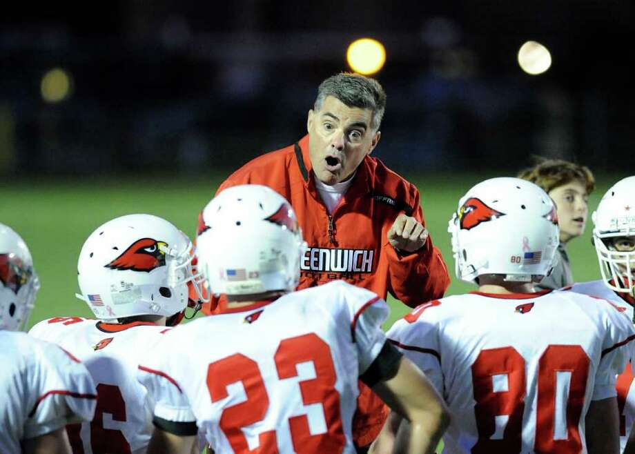 Coach Wayne Gioffre of Greenwich during high school football game between Greenwich High School and Trumbull High School at Trumbull High School, Thursday night, Oct. 6, 2011. Photo: Bob Luckey / Greenwich Time
