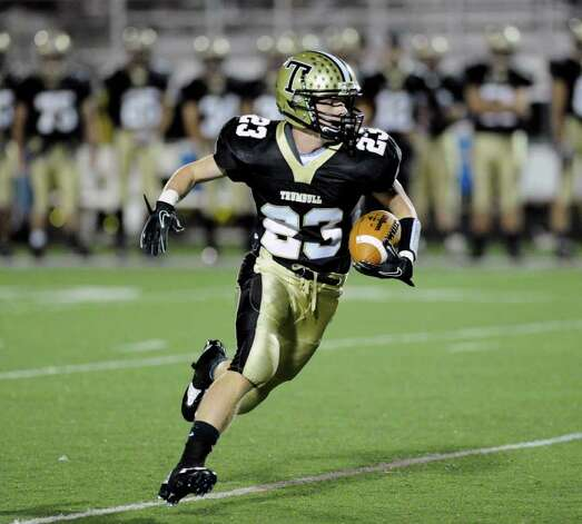 Michael Uus, # 23 of Trumbull High School during high school football game between Greenwich High School and Trumbull High School at Trumbull High School, Thursday night, Oct. 6, 2011. Photo: Bob Luckey / Greenwich Time