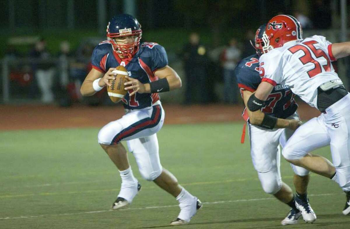 Brien McMahon hosts New Canaan High School in a football game October 6, 2011.