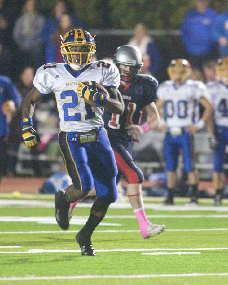 Brookfield High School's Leaon Gordon breaks loose on a touchdown run during an SWC football game against New Fairfield High School Friday night, Oct. 6. 2011, at New Fairfield High School. Photo: Barry Horn