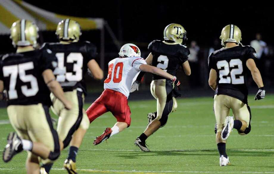 High school football game between Greenwich High School and Trumbull High School at Trumbull High School, Thursday night, Oct. 6, 2011. Photo: Bob Luckey / Greenwich Time