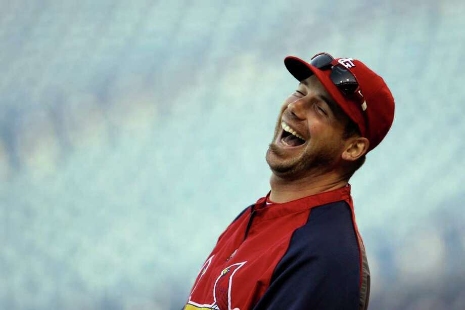 St. Louis Cardinals' Chris Carpenter laughs during baseball practice on Thursday, Oct. 6, 2011, in Philadelphia. The Cardinals are scheduled to play the Philadelphia Phillies in Game 5 of the National League division series on Friday. (AP Photo/Matt Slocum) Photo: Matt Slocum