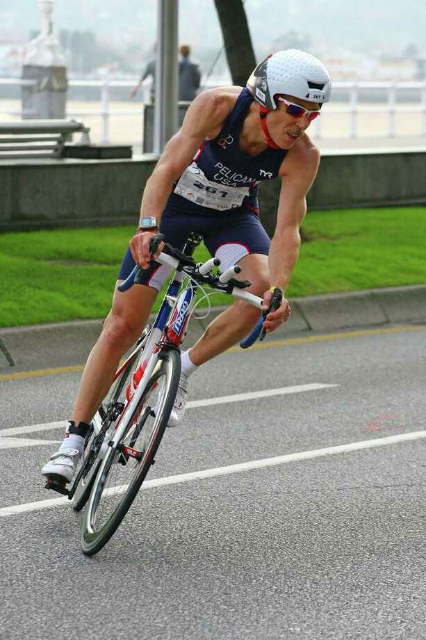 Bethel resident Greg Pelican won the bronze medal in the Duathlon World Championships in Gijon Spain on September 26th.    The 52-year-old Pelican , who owns Bethel Cycle, represented the United States and competed against the best master racers from around the world.  Pelican was third in the 50 ñ 54 age group.  The sprint format Duathlon race consisted of a 5 kilometer run, followed by a 19-kilometer bike leg and then a final 2.5-kilometer run. Photo: Contributed Photo