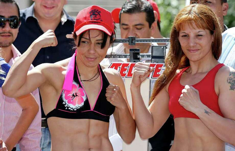 FOR SPORTS -  Jackie Nava (left) and Soledad Mathysse pose for the media after the weigh-in held at the Galerias Hipodromo in Tijuana, Baja California, Mexico Friday Oct. 7, 2011. Nava and Mathysse will fight Saturday Oct. 8 in Tijuana.   (PHOTO BY EDWARD A. ORNELAS/eaornelas@express-news.net) Photo: EDWARD A. ORNELAS, SAN ANTONIO EXPRESS-NEWS / © SAN ANTONIO EXPRESS-NEWS (NFS)
