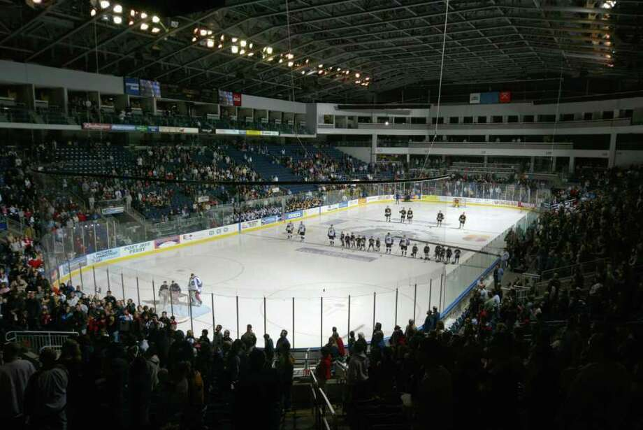 BRIDGEPORT, CT - FEBRUARY 4: A general view of the arena taken before the game between the Bridgeport Sound Tigers and the Providence Bruins at the Arena at Harbor Yard on February 4, 2006 in Bridgeport, Connecticut. The Tigers won 4-1. (Photo by Mike Stobe/Getty Images) Photo: Mike Stobe, Getty Images / 2006 Getty Images