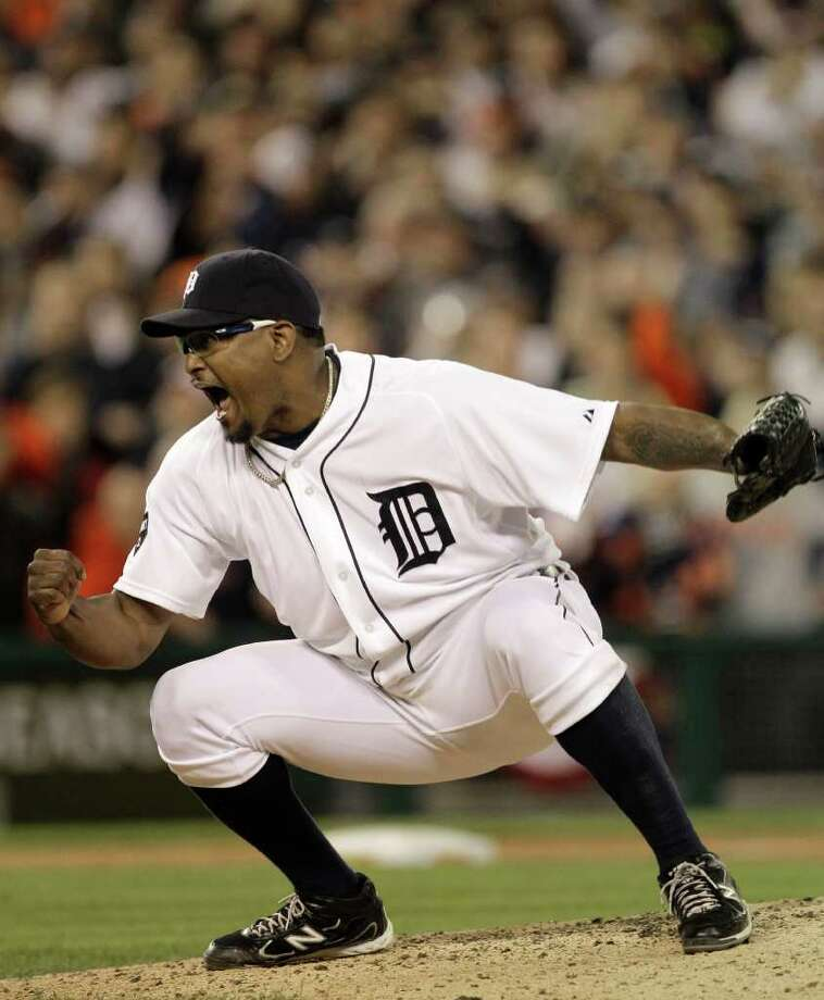 In the end, relief pitcher Jose Valverde and his Detroit Tigers were joyous in the result of their ALDS against the Yankees. But throughout the series, it was a nerve-racking affair for fans. Photo: Paul Sancya/Associated Press / AP