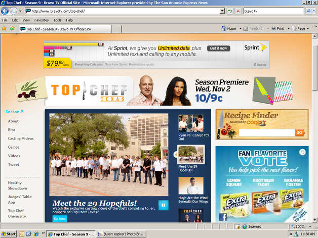 Screen grab of BravoTV.com's Top Chef: Texas page