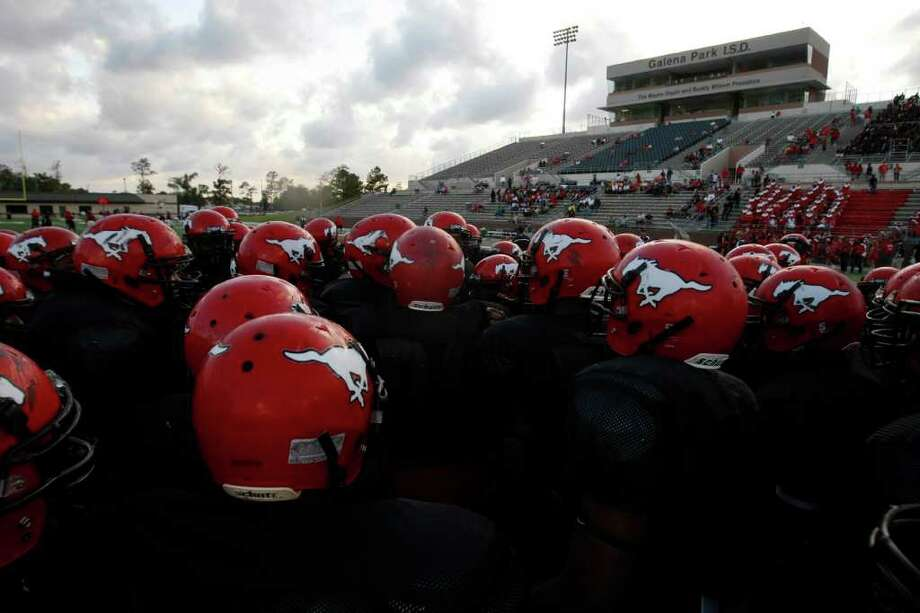 The North Shore players prepare to warmup before they played Port Arthur Memorial High School at Galena Park ISD District Athletic Complex Friday, Oct. 7, 2011, in Houston. Photo: Johnny Hanson, Houston Chronicle / © 2011 Houston Chronicle
