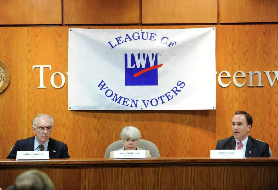 Democratic First Selectman candidate John Blankley, left, and the Republican incumbent Peter Tesei, right, during the League of Women Voters of Greenwich debate between the candidates for first selectmen at Greenwich Town Hall, Wednesday night, Oct. 5, 2011. At center is moderator Jean Rabinow of Trumbull. Photo: Bob Luckey / Greenwich Time