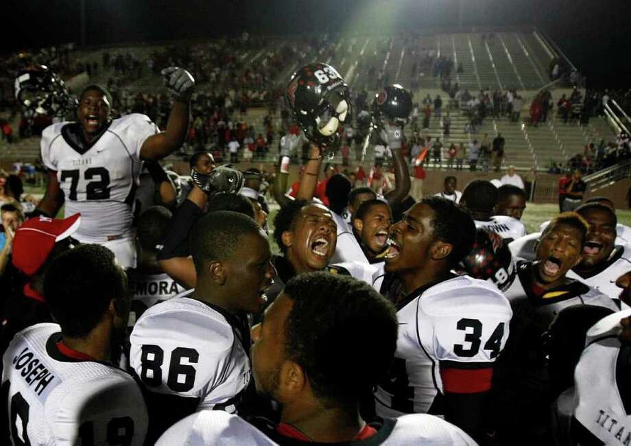 Oct. 7: Port Arthur Memorial 14, North Shore 7. Port Arthur Memorial players celebrate as they defeated North Shore High School 14-7 at Galena Park ISD District Athletic Complex Friday, Oct. 7, 2011, in Houston. Photo: Johnny Hanson, Houston Chronicle / © 2011 Houston Chronicle