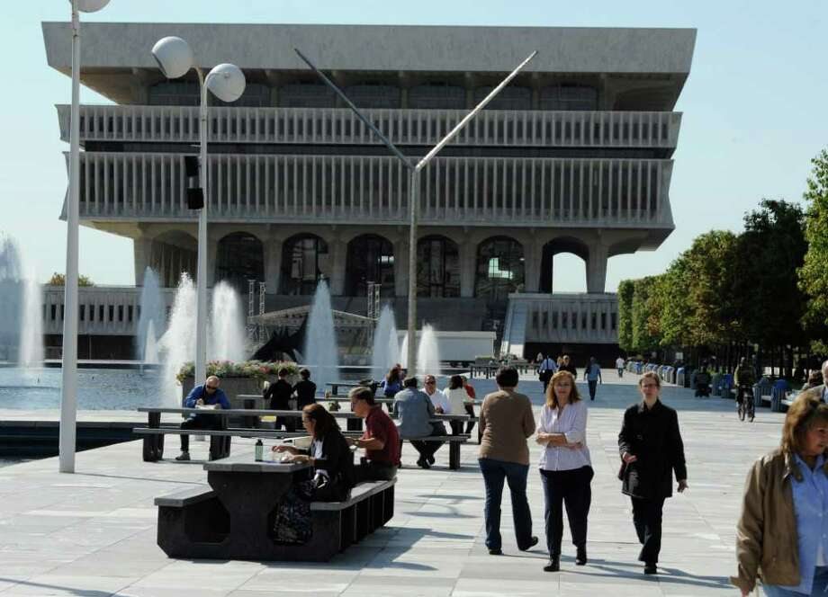 The lunch hour crowd during the beautiful weather on the Empire State Plaza  Albany, N.Y. October 7, 2011.     (Skip Dickstein/Times Union) Photo: Skip Dickstein / 2011