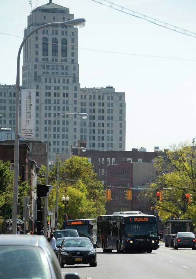 A CDTA bus travels west on Washington Avenue in Albany, N.Y. October 7, 2011.     (Skip Dickstein/Times Union) Photo: Skip Dickstein