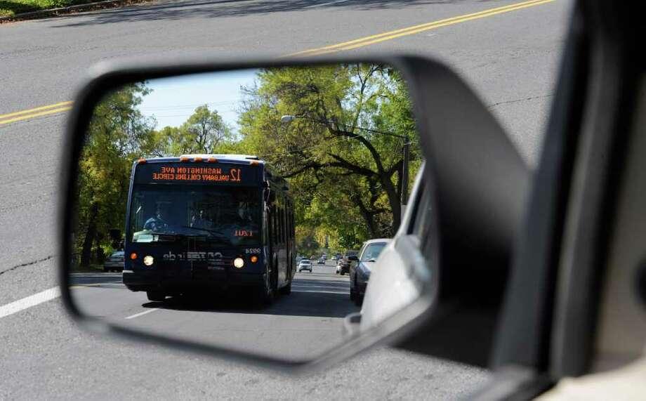 A CDTA bus travels west on Washington Avenue in Albany, N.Y. October 7, 2011.     (Skip Dickstein/Times Union) Photo: Skip Dickstein